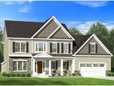 This plan would be a welcome addition to any community with it's use of stone, varied siding and striking front porch. The first floor has an open concept living area with an additional private study and garage entry with walk-in closet. Upstairs, in addi