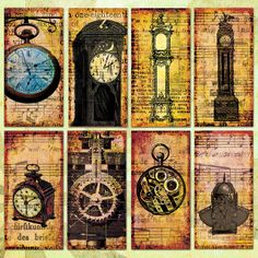 VINTAGE CLOCKS AND TIMEPIECES 2x1in Domino Tile Digital Collage Sheet - 0076 by rowantreedesign, via Flickr