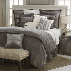 Delectably Yours Whistler Grey Velvet Bedding Set & Accessories by HiEnd Accents