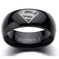 Black Tungsten  Superhero Superman ring Mens by SunloveJewelry, $59.00