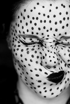 Dotted black and white face