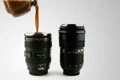 Mugs that are so realistic, you might have to use post-its just to remind yourself which is for coffee and which is for taking photos. (Available here: nikon mug, canon mug)
