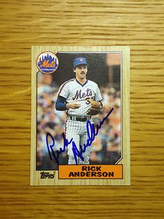 Rick Anderson: (1986 New York Mets) 1987 Topps baseball card signed in blue sharpie. (From my All-Time Mets Roster collection.)