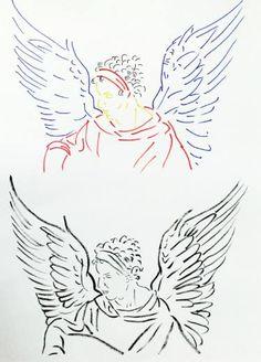 "Saatchi Art Artist Zoran Poposki; Drawing, ""Winged Man (after Durer)"" #art"