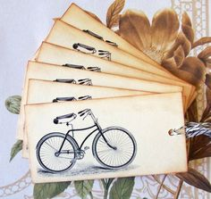 Tags Bike Bicycle Vintage Style Gift Tags Favors by bljgraves, $4.00