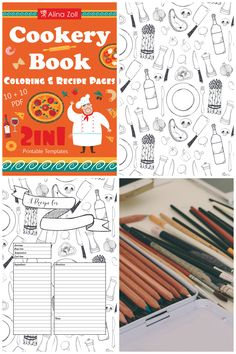 2 In 1 Cookery Coloring Book Recipe Cards Pages Food