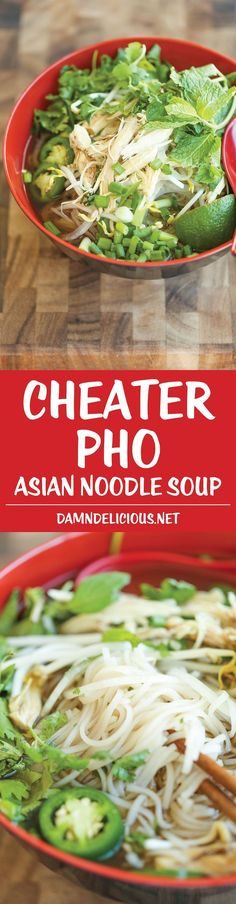 Cheater Pho (Asian Noodle Soup) - ​With this simplified version, you can have homemade pho on your table in 30 min or less. It doesn't get any easier! (use gf hoisin sauce or omit) Soup Recipes, Cooking Recipes, Pho Soup Recipe Easy, Pho Soup Recipe Chicken, Noodle Recipes, Recipies, Asian Recipes, Healthy Recipes, Asian Desserts