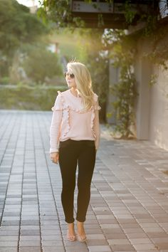 My favorite pink ruffle sweater from Topsop with paige jeans and stuart weitzman heels