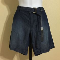 New Directions Petite Women's Blue Denim Look Belted Casual Shorts Size 4P NWT #NewDirections #CasualShorts