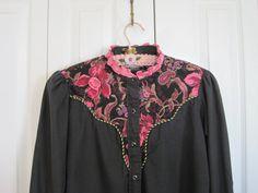 Black pink Vintage western blouse western vintage by ShabyVintage