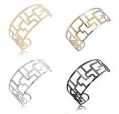 $9.99 - Stainless Steel Geometric Design Small Cuff Bangle - Black, Two-Tone, Silver, or Gold