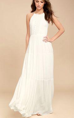 36b3d45345 For Life White Embroidered Maxi Dress via  bestmaxidress Modest White Dress