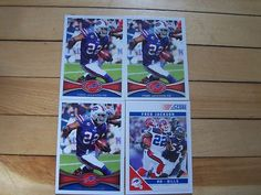 FRED JACKSON (4) Card Lot 2011 Score #31 2012 Topps #133 Buffalo Bills NFL Mint