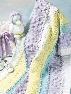 Lace-Up Baby Afghan and Baby Chick Toy