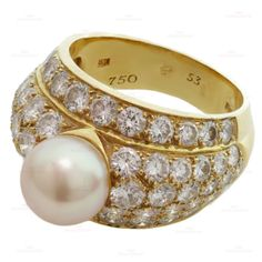 Cartier London Rare Pearl Diamond Yellow Gold Dome Ring Size 53  | From a unique collection of vintage dome rings at http://www.1stdibs.com/jewelry/rings/dome-rings/