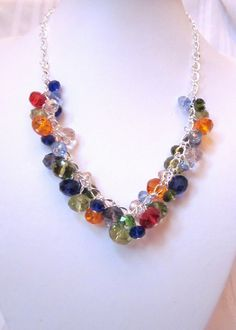 "The ""Crystal Rainbow"" Necklace - Rainbows of Colored Crystals - Choker, Cluster, Bib, Necklace, Wedding, Bridal, Bridesmaid."