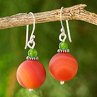 Carnelian dangle earrings, 'Orange Planet' #handmade4life #thailand