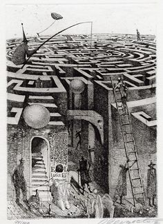 Elaborate drawing of a Labyrinth - Oleg Dergatchov Mirror Maze, Labyrinth Maze, Mc Escher, Art Graphique, Gravure, Optical Illusions, Printmaking, Graphic Art, Concept Art