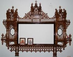 Persian overmantel, scroll saw fretwork pattern Laser Cut Box, Woodcut Art, Scroll Saw Patterns, Wood Crafts, Persian, Projects To Try, Woodworking, Wall Decor, Mirror