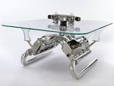 Interior, Carsofa, A Stunning Furniture For Car Lover: Awesome Twin Engine Glass Table