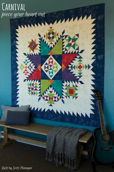 Love to piece? Then this quilt is for you. Featuring half-square triangles arranged in various ways to create the many blocks of this quilt, the bright colors make it a fun addition to any home.