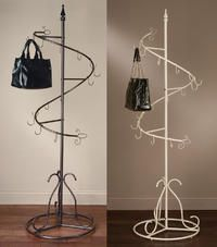 """Classic Spiral Purse Trees  (This value added tree works great for displaying purses and handbags.  74"""" Tall with 15 hooks. Hollow tube construction base makes it lightweight and easy to move around.  some assembly required.)"""