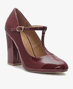 Block Heels - Burgundy Ankle Straps, Classic Looks, Block Heels, Burgundy, Pairs, Lady, Shoes, Fashion, Classy Looks