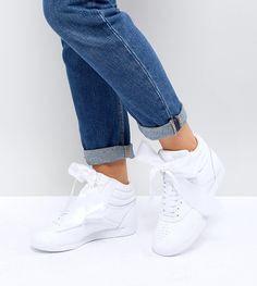0a9f7590fe5 Reebok Classic Freestyle Hi Satin Bow Sneakers In White