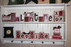 Valentines Be Mine LOVE Wood Block Set heart hugs by jodyaleavitt, $36.50
