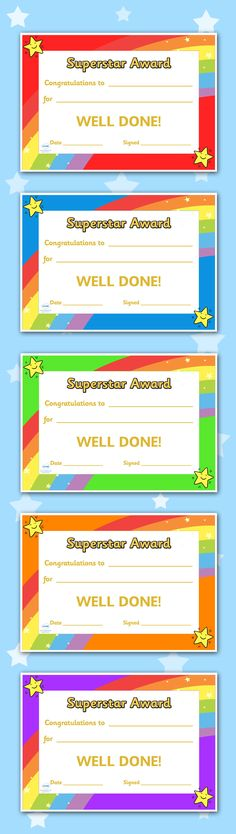 Twinkl Resources >> Superstar Award Certificates >> Printable resources for Primary, EYFS, KS1 and SEN.  Thousands of classroom displays and teaching aids! Rewards, Awards, Superstar, Certificates