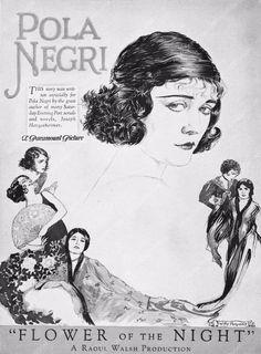 ad slick Pola Negri Flower of the Night 3239-27