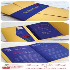 The Disney Inspired Beauty and the Beast Pocketfold Wedding Invitation with the unique inner booklet design (in the style of a book) and pull out RSVP Card. Perfect for bookworms, Rose, romantic, disney, fairytale theme weddings. Beauty And The Beast Wedding Invitations, Beauty And The Beast Theme, Beauty And Beast Wedding, Beauty Beast, Disney Inspired Wedding, Wedding Disney, Disney Themed Weddings, Disney Themed Party, Fairytale Weddings