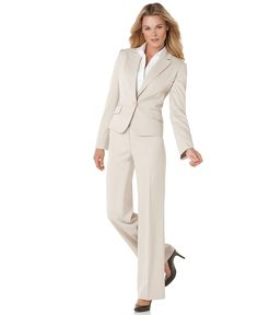 Anne Klein Suit, Ruffled Single Button Jacket & Bootcut Pants