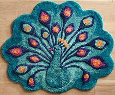 Peacock bath rug - Pier 1 Imports ... make a cute miniature felt project