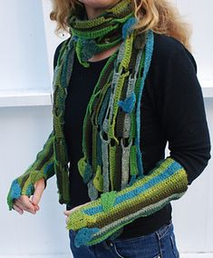 Ravelry: Leaved scarf and wrist warmers pattern by Julie Berg Rowan Felted Tweed, Wrist Warmers, Cowl Scarf, Types Of Yarn, Chrochet, Crochet Hooks, Ravelry, Lace, How To Make