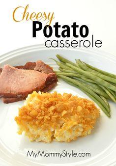 Delicious cheesy potato casserole made with Ore-Ida hashbrown potatoes.