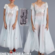 Vtg Lucie Ann Double Layer Chiffon Negligee Nightgown Peignoir Panties 3 PC Set. RARE FIND !! Peignoir set with matching lace and rhinestone panties !! FOR SALE !! Contact me at mailto:sjcintn@gm... BEST PRICES , ANYWHERE !!! #107