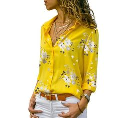 New Women's Chiffon V Neck Blouse Floral Print Summer Casual Beach Wear Floral Print Shirt, Printed Blouse, Printed Shirts, Floral Shirts, Floral Blouse, Camisa Floral, Floral Tops, Trend Fashion, Fashion Prints