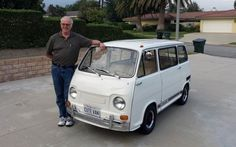 "This is my 1970 Subaru 360 Van. Some call it a Subaru Bus. Later years were called Sambar. This is a Japanese ""Kei"" class vehicle. Vw T3 Westfalia, Vw T1, Weird Cars, Cool Cars, Subaru, Cute Vans, Kei Car, Microcar, Vintage Vans"