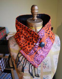 "Orange Cashmere Scarf Black Fleece Buttons Fringe Pakistani Fabric Neck Warmer -- ETSY Seller,,,,,,,,,,,,,,,, ""Florida Scarf"""