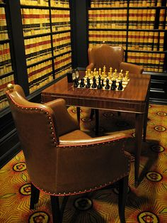chess in hotel, and a library, with room service
