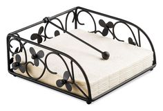 Keep napkins tidy and close at hand with this Napkin Holder by Ambiente Made from metal with an attractive flower design that will suit any home Measures 18cm wide, 18cm deep, 6.5cm high Designed to take a standard pack of folded 33cm x 33cm paper napkins straight from the pack Ideal for indoor or outdoor use, perfect for parties and entertaining Would make an ideal gift Please note napkins are not supplied these are shown for illustrative purposes only Other designs available
