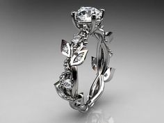 14kt whitegold diamond leaf and vine wedding ring,engagement ring ADLR59