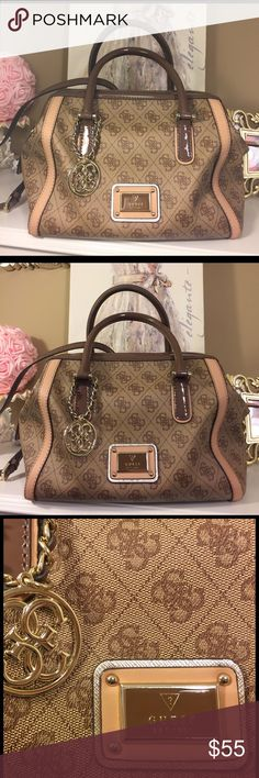 GUESS Handbag in Tan & Brown Classy, nearly new GUESS Handbag with short & detachable long straps to adjust according to your preference. Great condition! Only used a couple of times. Guess Bags