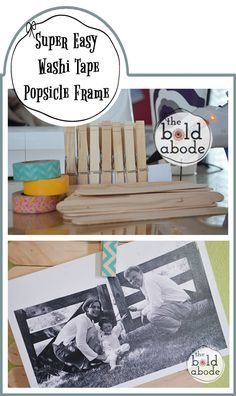 Easy popsicle stick, clothespin & Washi tape frame