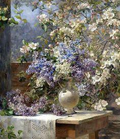 """Marie Egner, """"flowery Pergola"""", (c. 1896.)  Marie Egner Austrian painter r (1850-1940), from Iryna"""