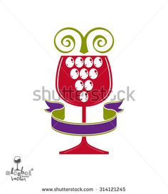 Winery award theme vector illustration. Stylized half full glass of wine with grapes cluster and decorative ribbon, racemation symbol best for use in advertising and graphic design.