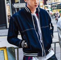 Striped color block bomber jacket for men denim baseball jacket