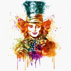 Watercolor portrait of Johnny Depp as the Mad Hatter, a colorful wall art illustration in orange, blue, purple and light green tones.  !!INSTANT