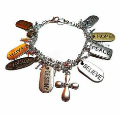 SALE Angelic Silver Gold & Bronze Religious Inspirational Dog Tag Dual Chainlink Bracelet w/Overlapping Mini Cross Charm Chain FREE SHIPPING - Only  $7.95 on Etsy!  https://www.etsy.com/listing/235863392/sale-angelic-silver-gold-bronze